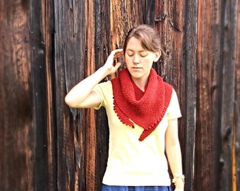 Womens hand knit triangular scarf - orange/red