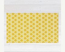 ON SALE Honeycomb Pattern Area Rug - Mustard Yellow - Geometric Area Rug - Mid Century Modern Home Decor - By Aldari Home