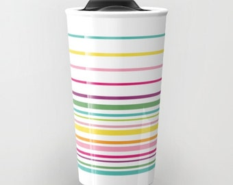 Stripes Travel Mug - Ceramic Travel Mug With Lid - Gift For Women - Aldari Home