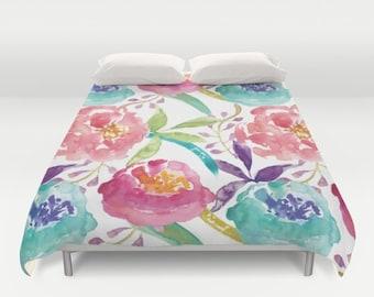Floral Duvet Cover - Modern Flowers  Duvet Cover - Modern Decor - Pink Peach Teal Green Purple - Full Queen King Size - Duvet Cover