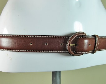 "Women's Brown hippie boho chic cowhide leather fashion belt Medium to large 30"" - 34"" R14571"