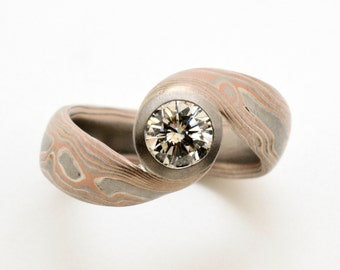 Mokume Gane Bypass Engagement Ring with a Round Diamond in 14k Red Gold, Palladium, and Sterling Silver with Etched Finish