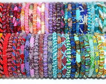 Wholesale Nepal Bracelets- Beaded Roll on Bracelets- Glass Bead Bracelets- Seed Bead Bracelets- Stacking Bracelets- Preppy Beach Jewelry