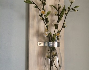 Floating Wall Vase, Hanging Vase, Rustic, Flowers, Collage