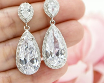 Bridal Earring, Bridal Earrings, Zirconia Bridal Earring , Wedding Earring, Bridesmaid Earring, Classic Drop Earrings, Zirconia Ear Posts