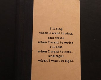 """3.6"""" W x 5.5"""" H Recycled Paper Hardcover Journal with original writing from @boldenblaze on Cover"""