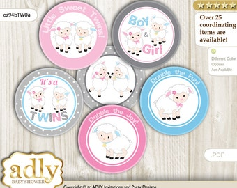 Twins Lamb Cupcake Toppers for Baby Shower Printable DIY, favor tags, circles, It's a Twins, Polka - oz94bTW0