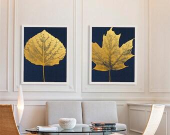 Two Gold Leaf Art Prints Beautiful Art Living Room Decor Gold Foil Art Gold Prints Maple Leaf Print Aspen Rich Decor Navy Blue and Gold Art
