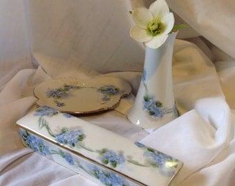 Vintage dresser set, limoges France, blue flowers,  forget me knots, gift for her, cottage chic, feminine, valentine