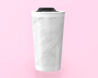 MARBLE | White Coffee Travel Mug