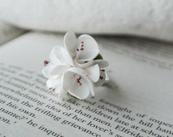 Cherry blossom ring, white flower ring, romantic ring, tender blossom ring, sakura ring, adjustable ring, Cherry wedding, gift for her