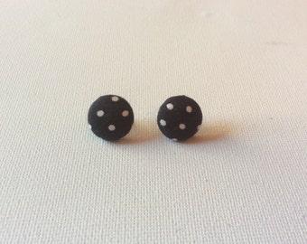 Black & White Polka Dot Button Earrings