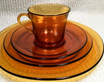 Retro Duralex Amber Dinnerware Set from France.   Cup & Saucer, Luncheoon Plate and Dinner Plate