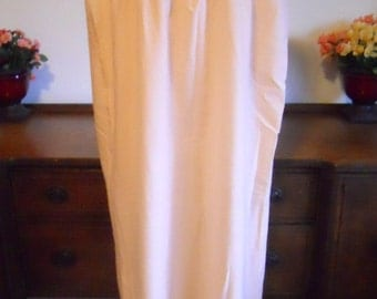 Vintage 1960's ~  Bright Girl Long Nightgown ~ Apricot  ~ Embroidered Bust ~ Ruffled Hem ~ One Size