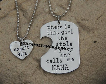 Nana Grandaughter Hand stamped stole heart pendant necklace set