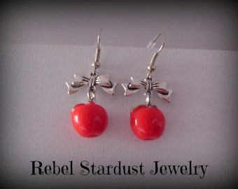 Snow White red apple and bow earrings
