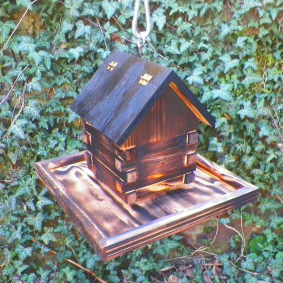 Log Cabin Bird Feeder Automatic Outdoor By Knottypinedesigns