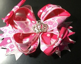 Pink Princess Bow. Princess Bow. Pink Princess Boutique Bow. Tiara Bling Bow. Pink Princess Crown Boutique Bow: Crown Center Bling.