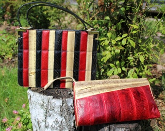 60s vintage Esteve purse and cosmetic bag