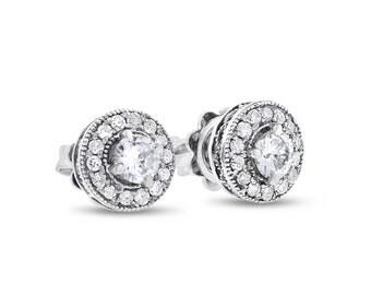 0.80 CT Natural Diamond Round Halo Milgrain Stud Earrings in Solid 14k WG