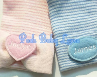 Twins! Two 2 Ply Newborn Hospital Hats With Names! Choose Gender Newborn Baby Hats! Great for Gender Reveal. Or Bring Both if Your Surp
