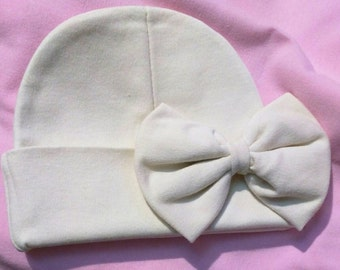 Baby hat Beanie. Beige/Khaki Color Hat with Bow. Great Gift. Perfect Going Home Hat! Fits 0-6 Months. Mom will love. Cute!