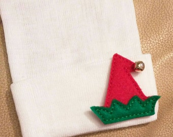 Newborn Hospital Hat! CHRISTMAS HOLIDAY hospital hat topped off with an Elf Hat w/ Jingle Bell Baby's 1st Keepsake! Cute for Baby! Beanie