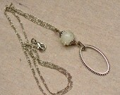 White Glass Bead Eyeglass Lanyard Necklace. SALE. Silver Eyeglass Holder. Glasses Holder. Oval Loop Contemporary Eyeglass Necklace.