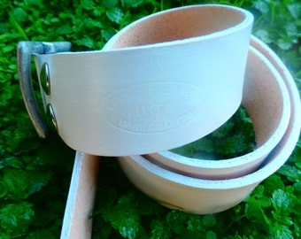 Handmade mens leather belt in white with an antique nickel buckle