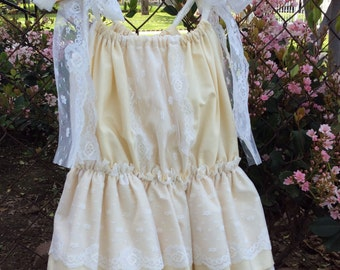 Cream ruffle pillowcase dress