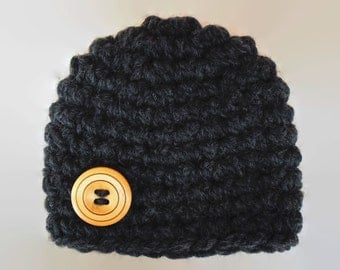 Crochet baby hat, newborn boy hat, charcoal baby hat, baby boy hat, newborn crochet hat, wool baby hat, button baby hat