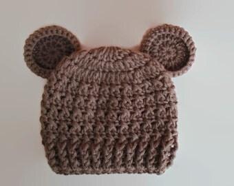 Sale! Crochet baby hat, baby bear hat, newborn bear hat, baby boy hat, newborn boy hat, crochet newborn hat, Teddy bear hat, bear beanie