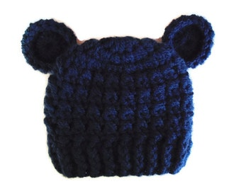 Baby bear hat Navy bear hat Navy newborn hat Newborn boy hat Crochet baby hat Baby animal hat Baby hat with ears Teddy bear hat