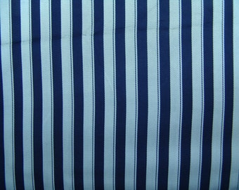3.5 yds rayon navy stripe vintage fabric 50s silky lining pillows narrow width
