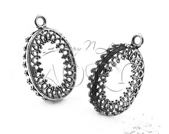 1pcs 925 Sterling Silver Filigree Wire Crown Bezel Pendant Setting 18x13mm, Antique Silver Color, N3305as, Top Quality, Made in Israel