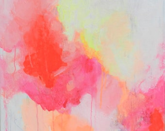 Square GICLEE PRINT on CANVAS, pink, yellow, orange, abstract art, abstract art, brightly covered