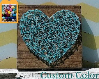String Art Heart on Stained Wood, Handmade by Nailed It Designs, Unique Gift Under 15, Wood Wall Sign, Heart Sign, Trendy Home Decor