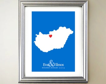 Hungary Custom Vertical Heart Map Art - Personalized names, wedding gift, engagement, anniversary date