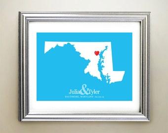 Maryland Custom Horizontal Heart Map Art - Personalized names, wedding gift, engagement, anniversary date