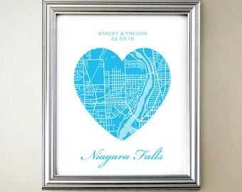 Niagara Falls Heart Map Print