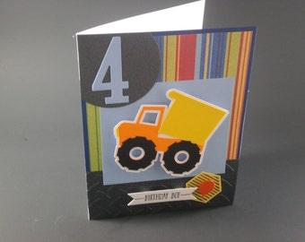 Dump Truck Contstruction Party, Kid's Birthday Card, customized kid's birthday card