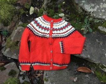 Handmade fair isle Norwegian sweater by Bergenkofter. size childs m/l