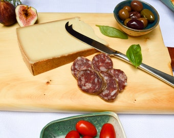 Wood Cheese Board Made From Australian Huon Timber. Leather Handle. Cutting Board