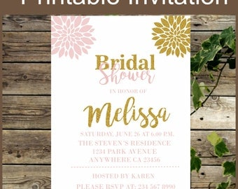 Bridal Shower Invite - Personalized Pink and Gold Floral Bridal Shower Invite - Printable Shower Pink and Gold Invite