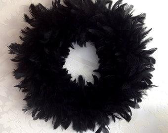 "Halloween Wreath Black Feather 15"" (38 cm)"