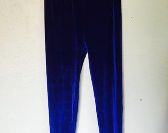 80s Blue Velvet High Waist Leggings