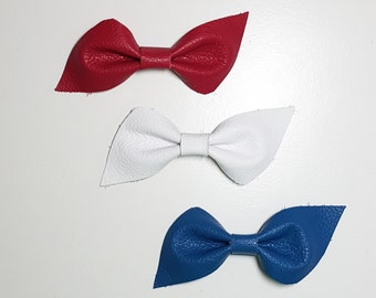 Patriotic Leather Bow Sets / Red White Blue / Leather Bows