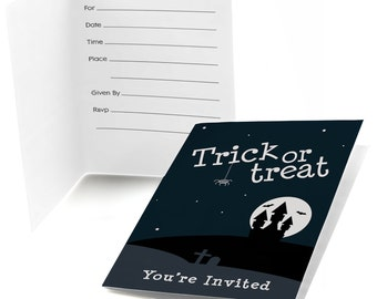 8 Count Trick or Treat Fill In Invitations - Halloween Party Supplies