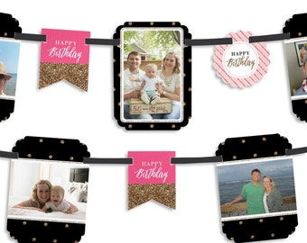 Chic Pink, Black and Gold - Happy Birthday Party Photo Garland Banner - Custom Birthday Party Decorations