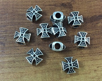 20  pcs   Double Sided Antique Silver  Cross Beads for  Cross Jewelry
